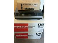 Pair of kam box 280 record decks boxed in original packaging Plus silver dwarf mixer