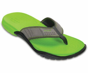 Mens Crocs Swiftwater Flips Graphite/Green