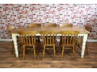 Rustic Farmhouse Reclaimed Pine Kitchen Dining Table Set - Range of Sizes!