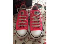 Girls bright pink converse good cond 11.5 & crocs sandals 13