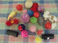 cat toys and 2 x rolls poo bags