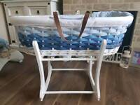 Mothercare blue ombre moses basket and stand