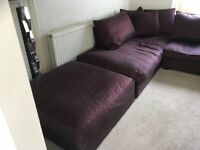 Large Corner Sofa and footstool from Furniture Village. Used.