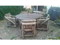 Rustic table and 5 chairs