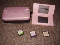 NINTENDO DS LITE WITH CASE AND GAMES AND CHARGER PINK