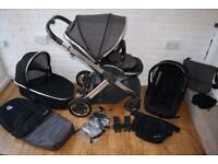 Grey / black Babystyle Oyster 2 pram travel system and extras 3 in 1 - can post -