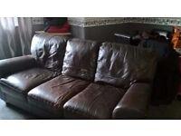 FREE 3 seat brown leather sofa