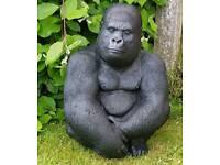 Gorilla; cast stone garden ornament
