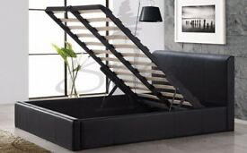 SINGLE DOUBLE KINGSIZE***LEATHER OTTOMAN STORAGE BED BLACK & BROWN LEATHER OTTOMAN