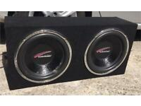 """12 """" Audiobahn sub subwoofers in twin box"""