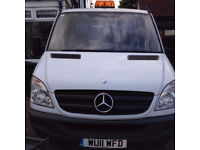 Mercedes Benz Sprinter 313 CDi white with blue cage tipper