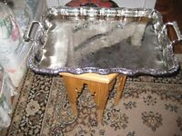 MAGNIFICENT MOROCCAN SILVER PLATED TRAY WITH BEAUTIFUL COVER .