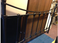 double bed frame dark with wooden slats