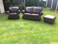 As new chestnut luxury soft leather 3 piece sofa suite. Couch chair poufee. Can deliver