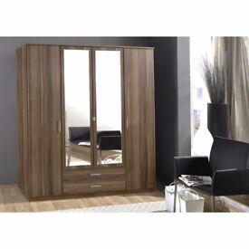 🔥💖PREMIUM GERMAN WOOD💥💖 Brand New OSAKA 3 OR 4 Door Wardrobe ❤New French Walnut & White Finish❤