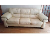 Large 4 seater cream leather sofa. Beautiful, clean but with a few wear & tear marks as shown