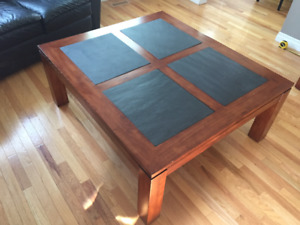 Mahogany and slate coffee and sofa tables