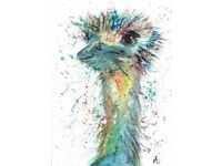 Colourful Ostrich A3 Gloss Poster