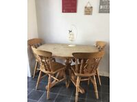 Solid wood farmhouse table & 4 chairs- ideal shabby chic project