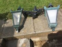 A pair of Antique Outdoor Aluminium Lanterns for sale. In good working condition.