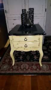 Large French Provincial end table with large drawer
