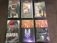 Various VHS VIDEO Tapes - SAS Surviival, Paras, Zero Option, Who Dares Wins, The One That Got Away