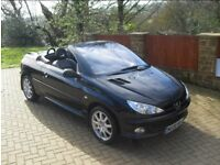 Peugeot 206CC Allure JBL Convertible, stunning black with full leather interier.