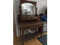 Solid Wood Antique Dressing Table and Bevelled Glass Mirror - Great Shabby Chic Project