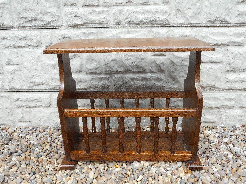 Small oak side table magazine rack in calverton