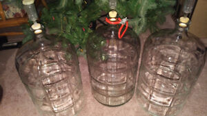 3 -  23 LITRE GLASS WINE CARBOYS WITH AIR LOCKS AND CARRY HANDLE