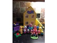 Peppa pig house, 16 characters and furniture.