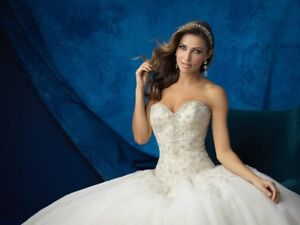Strapless ball gown wedding dress with veil