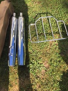 Harley Davidson pipes and trunk rack