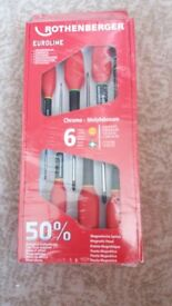BRAND NEW - Rothenberger Professional quality 6 pce Pozidrive screwdriver set