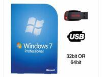 Windows 7 Professional 32 or 64bit Bootable USB Drive