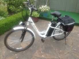 Smart Electric Bicycle in white brand new complete with battery charger great ride .