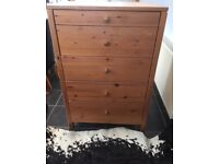 Large solid pine chest of draws, 4 large & 1 smaller, great for kids room, very deep draws