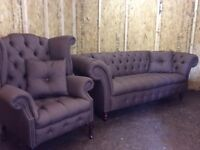 CHESTERFIELD BROWN FABRIC £950 ono