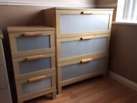 2 x 3 drawer bedroom cabinets