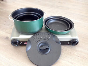 Coleman 2-Burner Camp Stove w/ Camp Pots and Pans Set For Rent