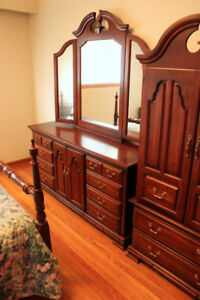 Solid Wood Dark Cherry Long Dresser Mirror Colonial Style OBO