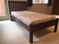 DARK WOOD SINGLE BED FRAME WILTON BY JOHN LEWIS & NEW MATTRESS EXCELLENT CONDITION £150 OBO