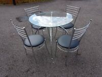 Round Clear Glass & Chrome Table & 4 Chrome & Black Leather Chairs FREE DELIVERY 570