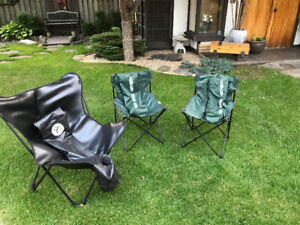 3 folding portable camp chairs