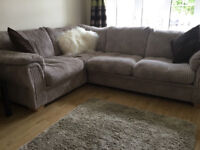 Lovely jumbo cord corner sofa - Grey/mink colour - Can deliver too