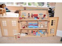 Fully furnished wooden doll's house