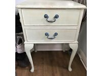 Shabby chic pastel green bedside/side table