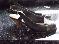 """Size 3 Nine West Black Leather Slingbacks with 3"""" heels - great condition"""