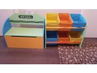 Crayon kids storage unit and toy storage box and bench