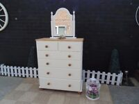 SOLID PINE FARMHOUSE CHEST OF DRAWERS WITH MIRROR PAINTED IN PALE DOVE COLOUR FROM LAURA ASHLEY